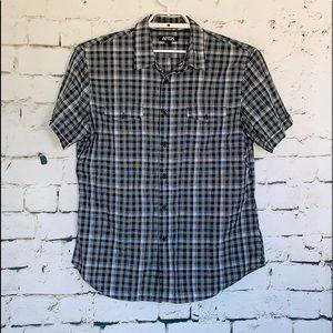 Men's Apt. 9 Black/White Plaid Short Sleeve Shirt